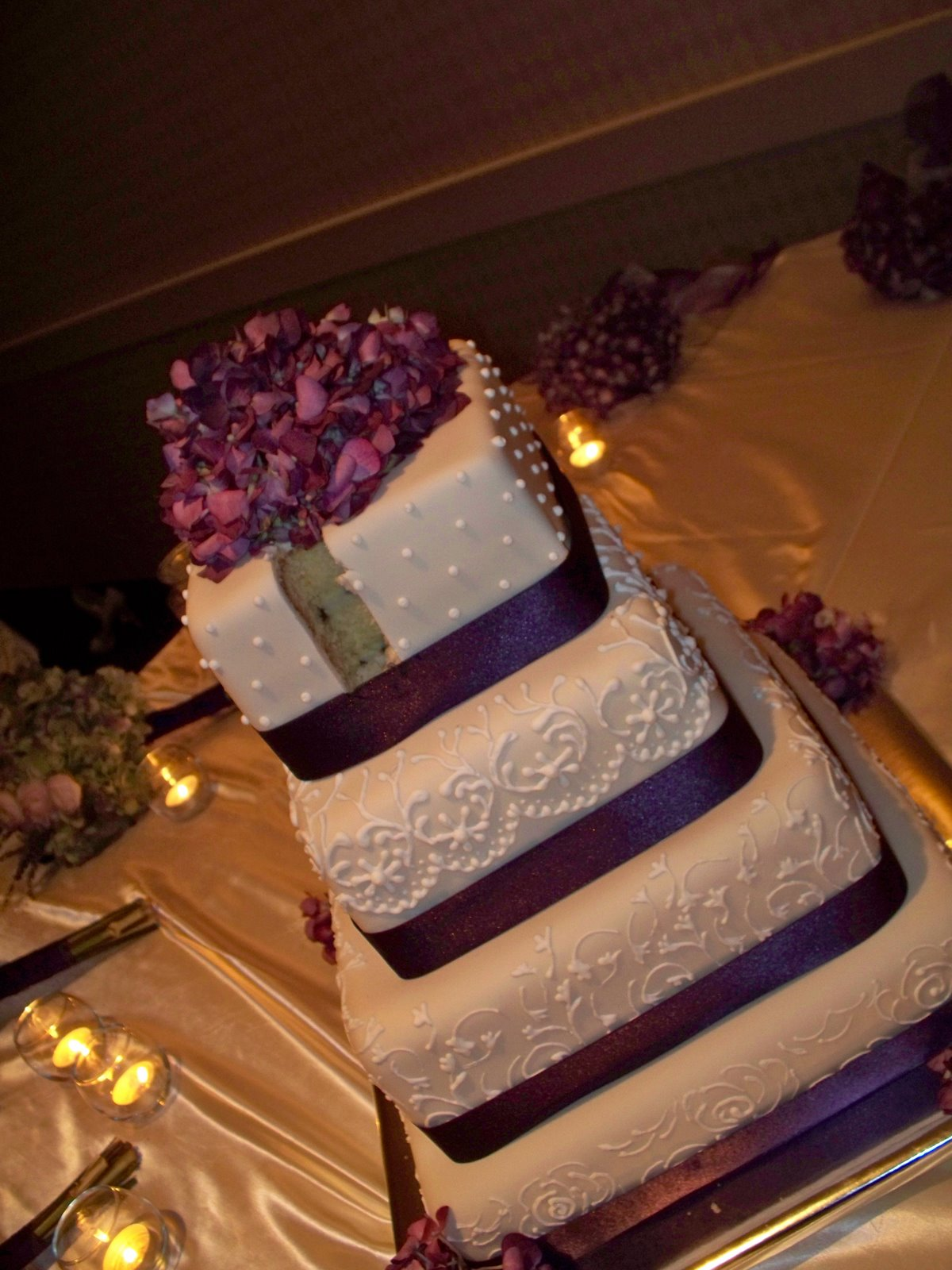 square wedding cake with purple ribbon percfectly purple wedding cake by eats bakery 20438