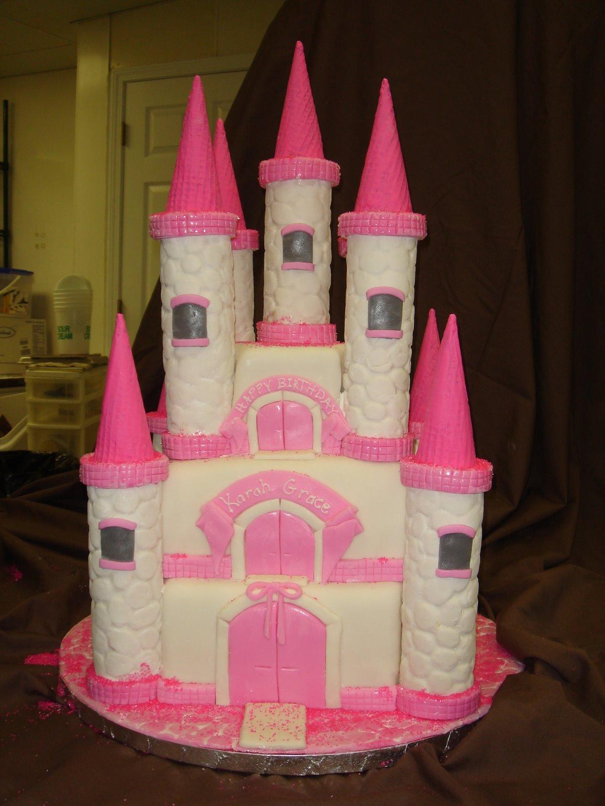 Pretty pink princess castle cake arteatsbakery