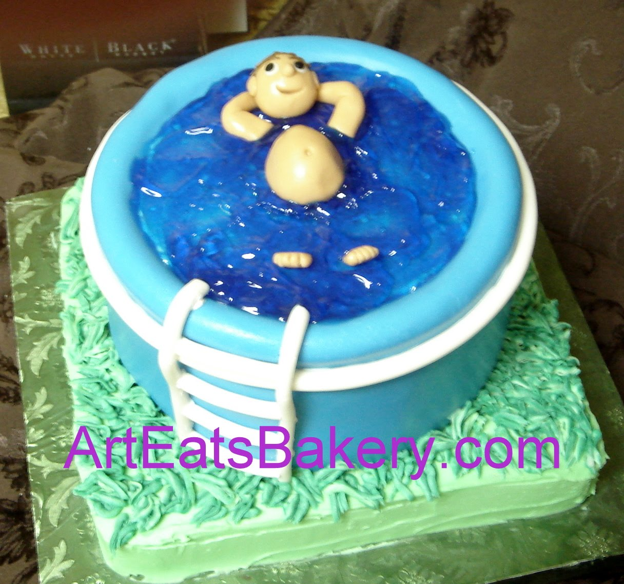 Fun birthday or groom s cakes for men arteatsbakery for Swimming pool birthday cake pictures