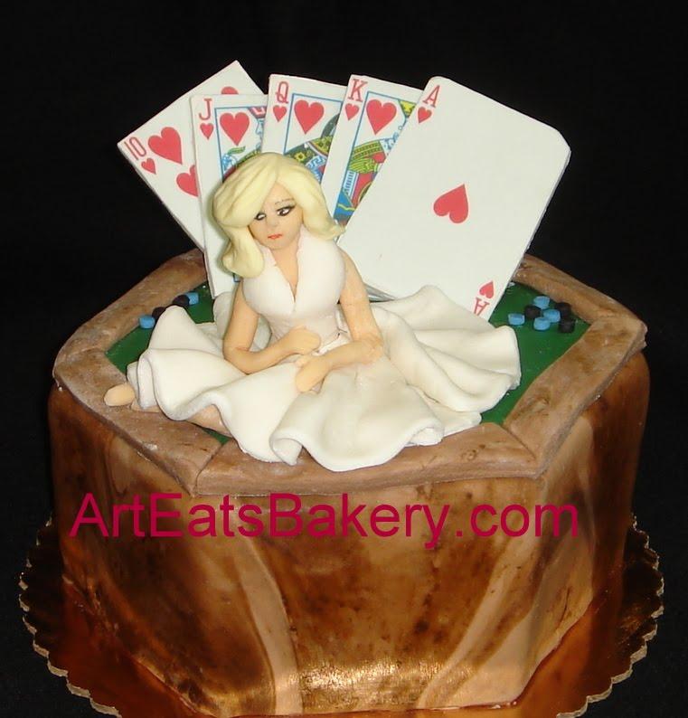 Wood grain fondant poker table birthday cake with Marilyn Monroe sugar ...
