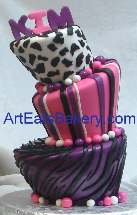 Outstanding Animal Print Fondant Birthday Cakes For Women And Young Ladies Funny Birthday Cards Online Chimdamsfinfo