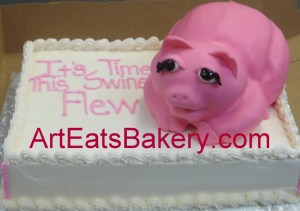 Fantastic 3D Pig Cake For The Wwe Wrestler Mickie James Arteatsbakery Personalised Birthday Cards Veneteletsinfo