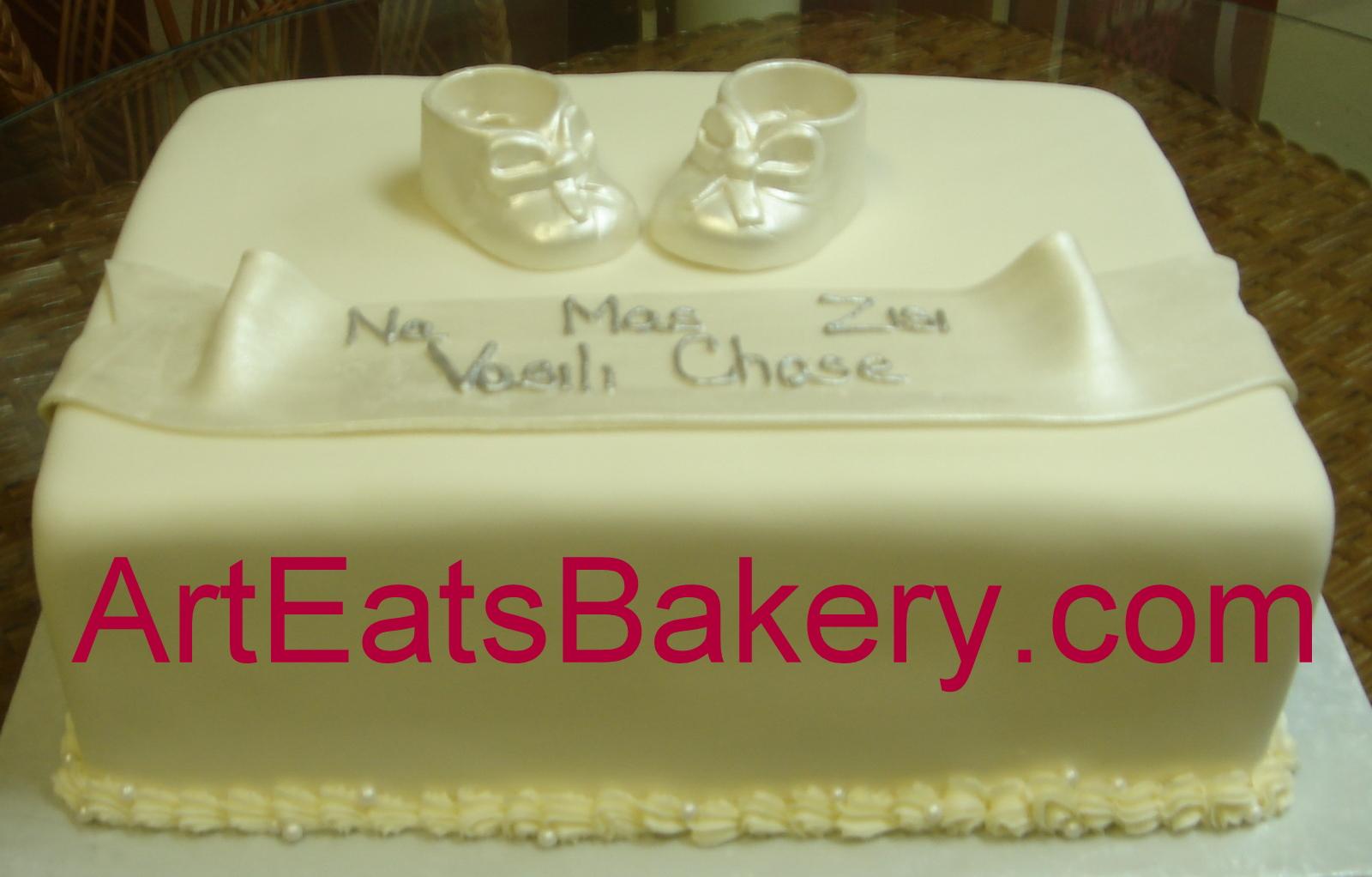 Purple Orange Mad Hatter Square Wedding Cake