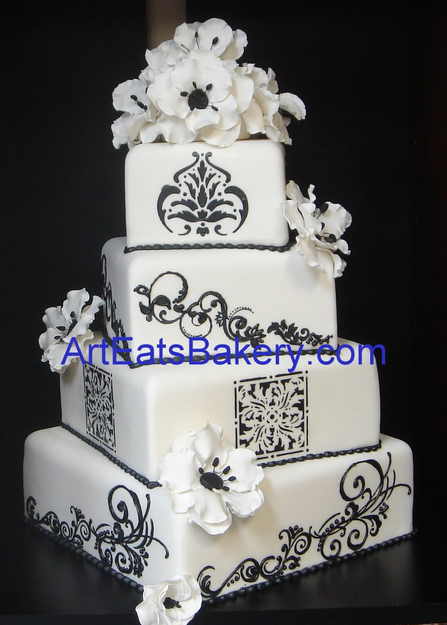 amazing black and white fondant wedding cakes arteatsbakery. Black Bedroom Furniture Sets. Home Design Ideas