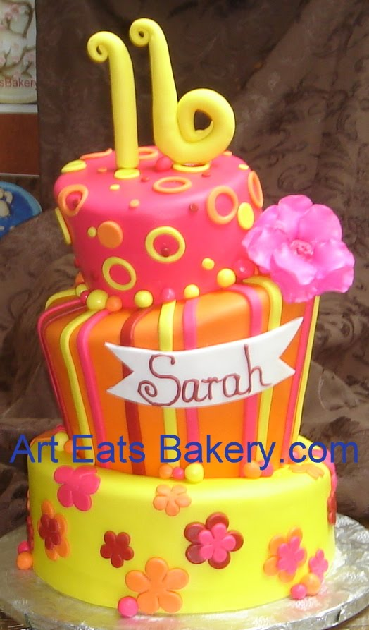 Sensational Three Tier Hot Pink Yellow And Orange Custom Sweet Sixteen Cake Funny Birthday Cards Online Eattedamsfinfo
