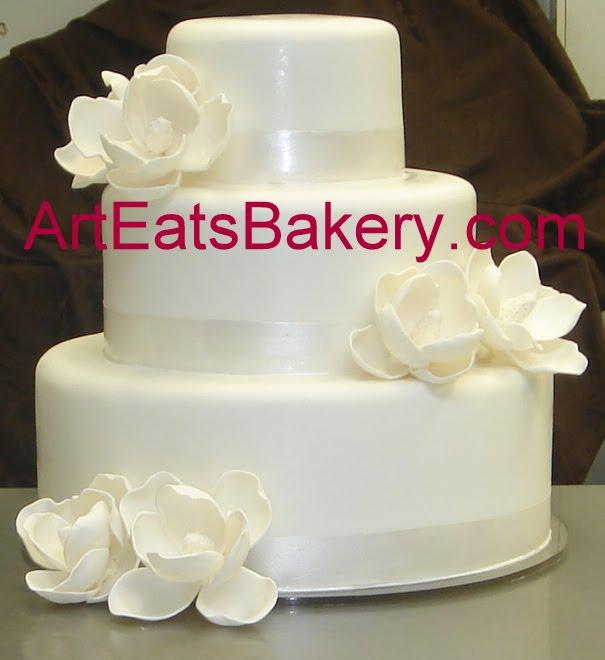 Three Tier Custom White Wedding Cake With Sugar Magnolias