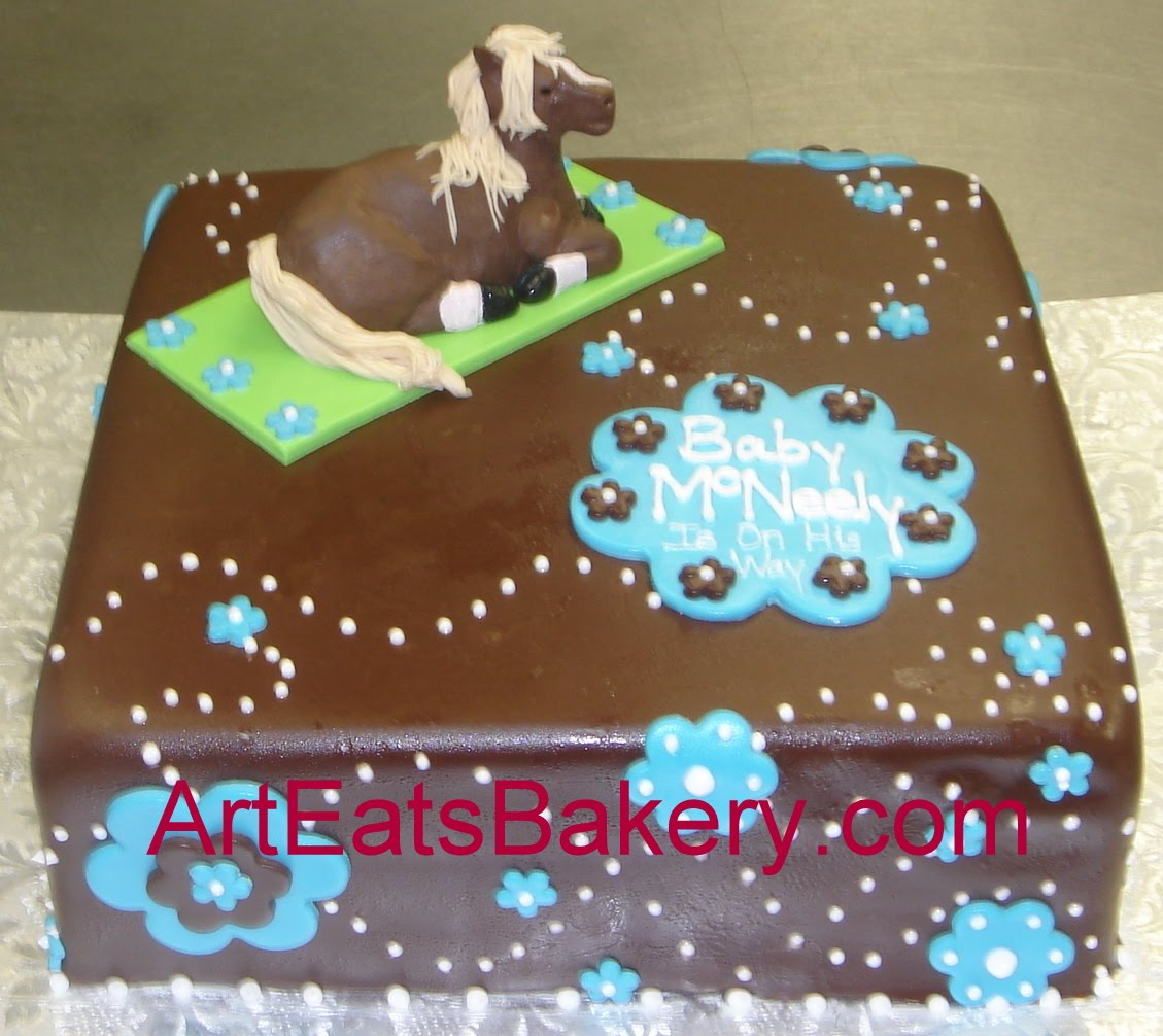 Fondant Cake Ideas For Baby Shower : Custom square chocolate fondant Horse sculpture baby ...