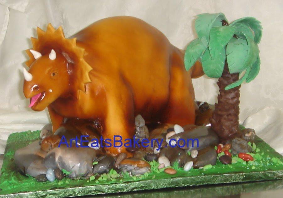 Outstanding Kids Custom Fondant 3D Triceratops Dinosaur Birthday Cake Funny Birthday Cards Online Elaedamsfinfo