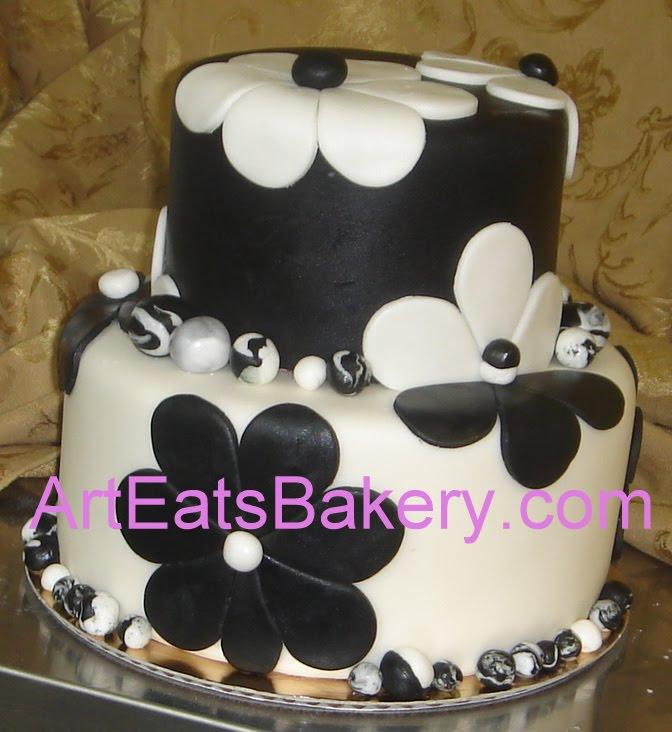 Two tier black and white flowers custom fondant birthday ...
