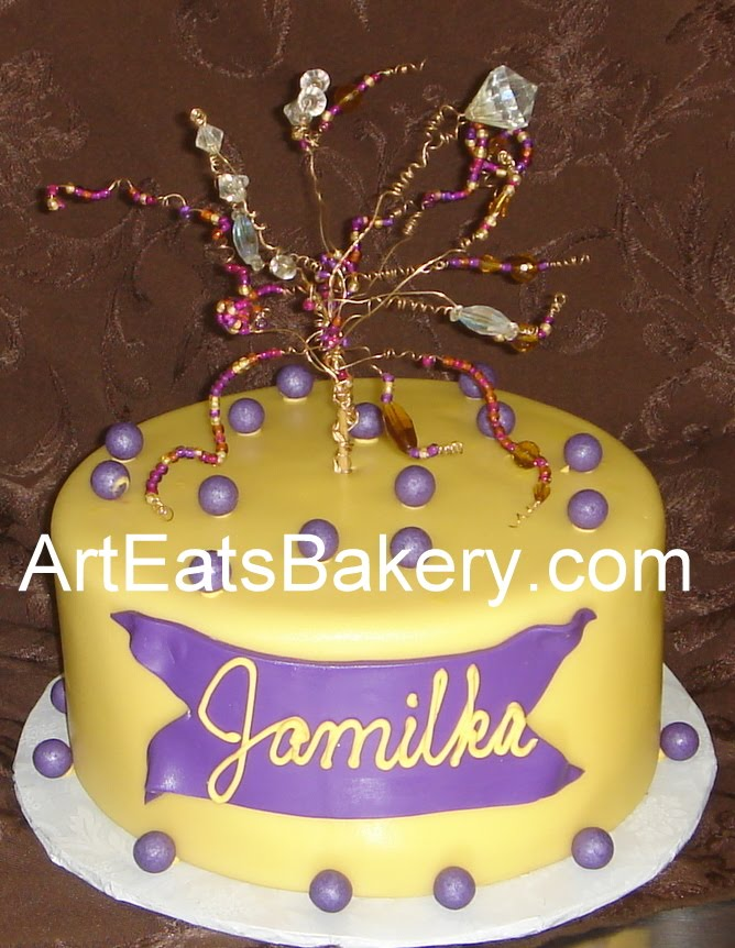 One tier yellow fondant birthday cake with purple pearls and bead ...