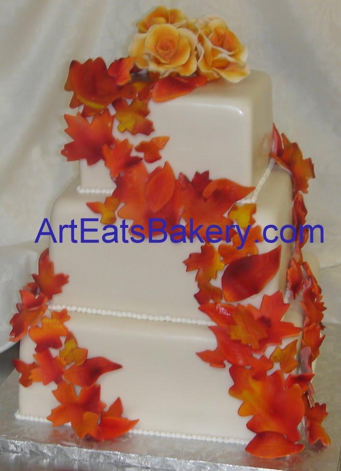 Three Tier Custom Designed Square Fondant Wedding Cake