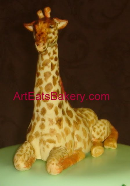 Custom Three Tier Jungle Theme Baby Shower Cake With Giraffe Topper