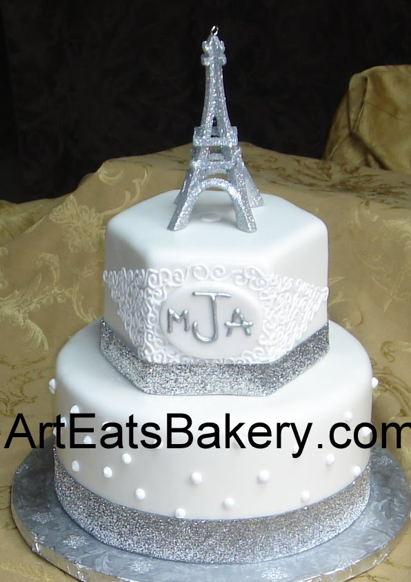 Two Tier Custom White Fondant Birthday Cake With Monogram Curlicues