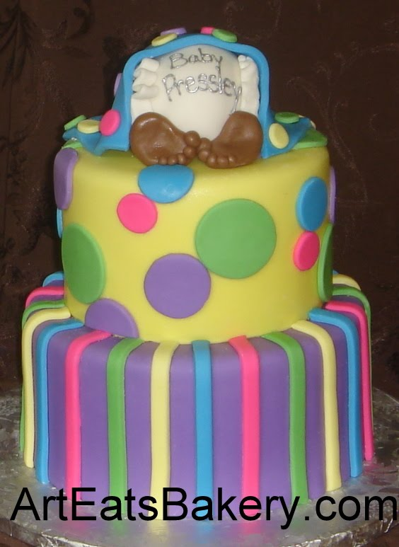 Custom designed fondant baby shower cakes with baby under blanket ...