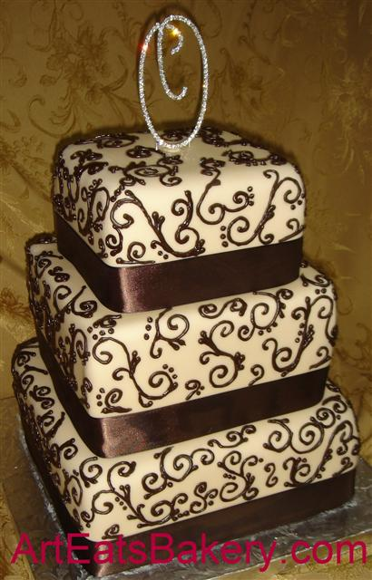 Cake Decorating Chocolate Piping : Square three tier custom fondant wedding cake pictures ...