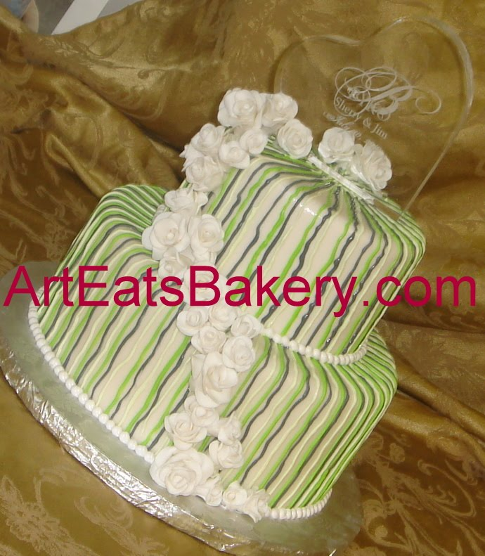 Custom designed green and gray striped two tier fondant ...