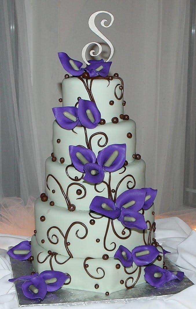 blue and purple fondant cakes