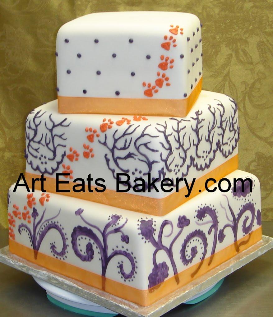 Three Tier Square Custom Fondant Wedding Cake With Orange Clemson