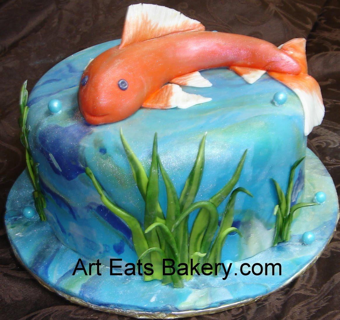 Koi pond custom unique fondant birthday cake with fish for Fish cake design
