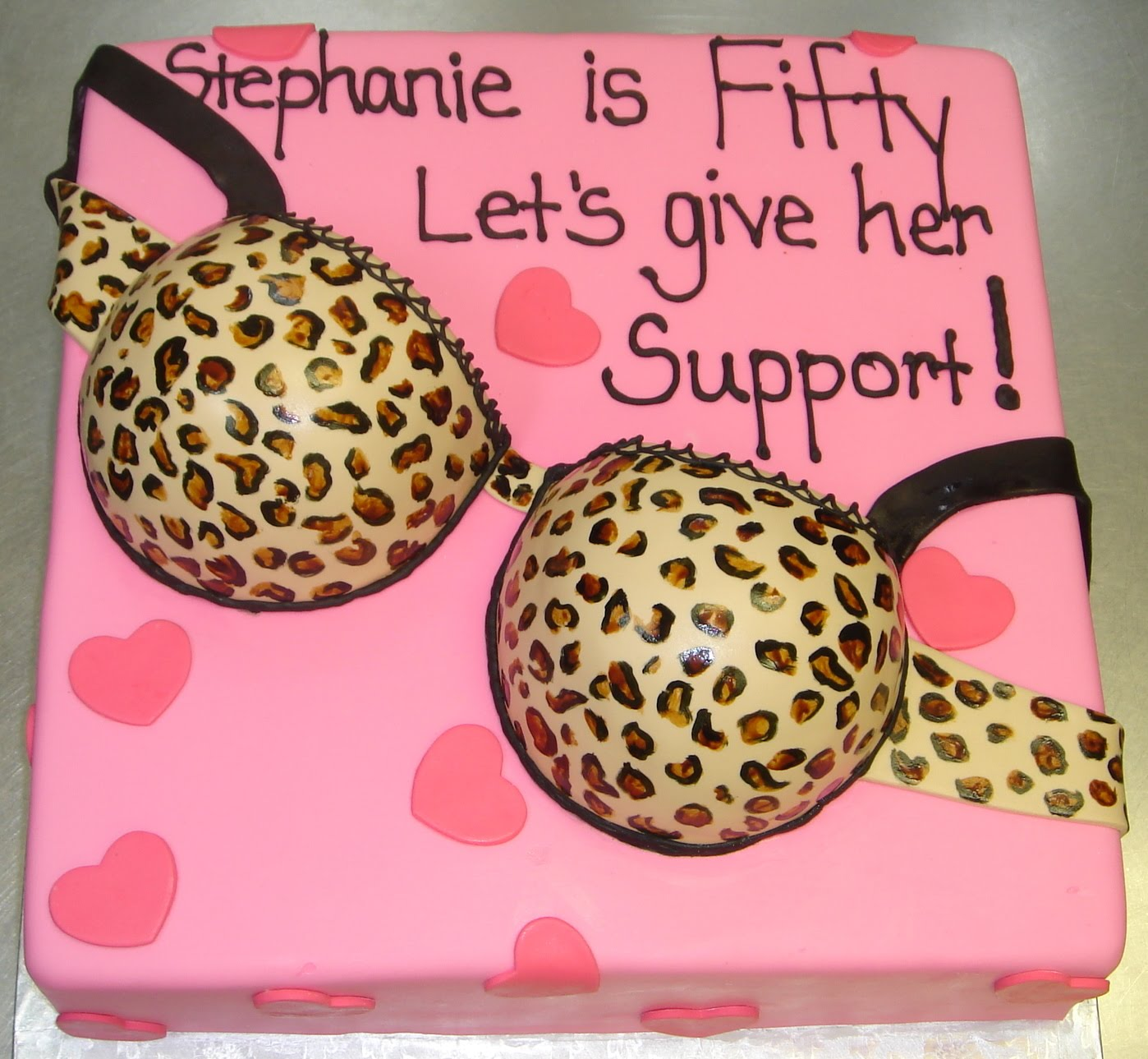 Birthday Cake Pictures To Print : >Leopard print sexy bra 50th birthday cake with pink base ...
