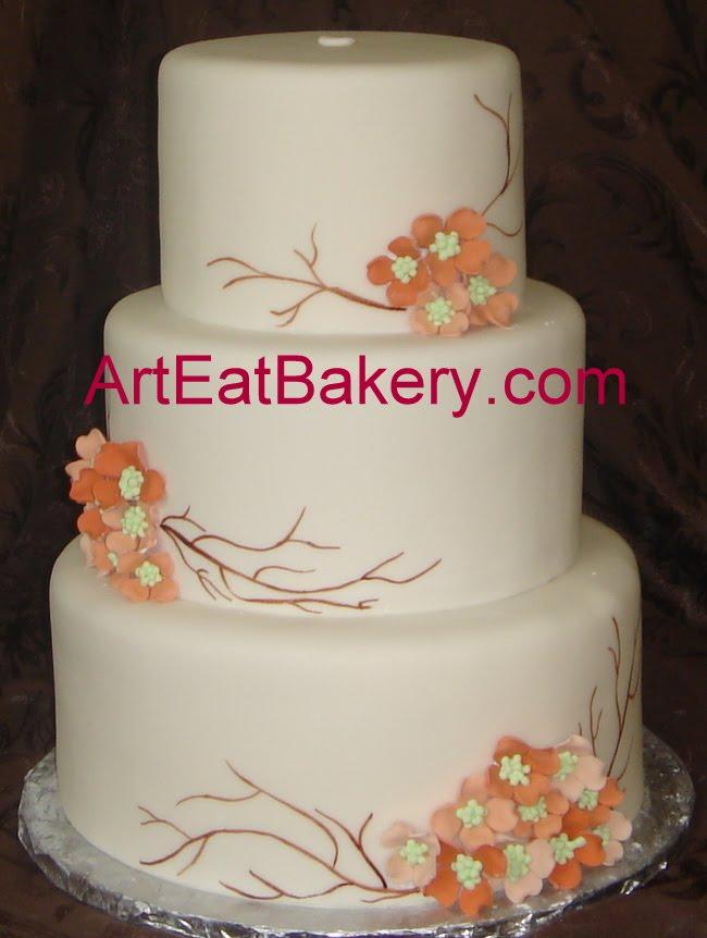 GtCustpm Designed Fondant Wedding And Grooms Cakes