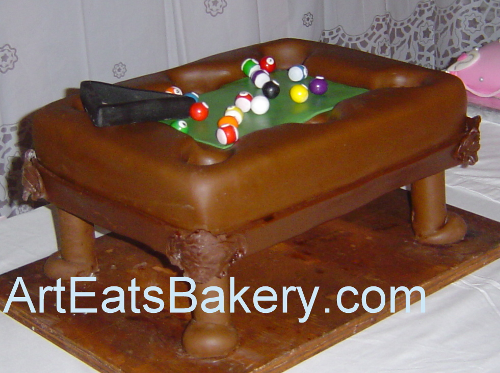 U003e3D Pool Table Groomu0027s With Gum Balls Decorated With Stripes, Solids,  Numbers And The Rack