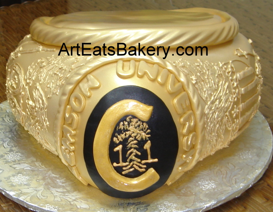 Custom designed 3D Clemson University gold ring graduation cake seal ...