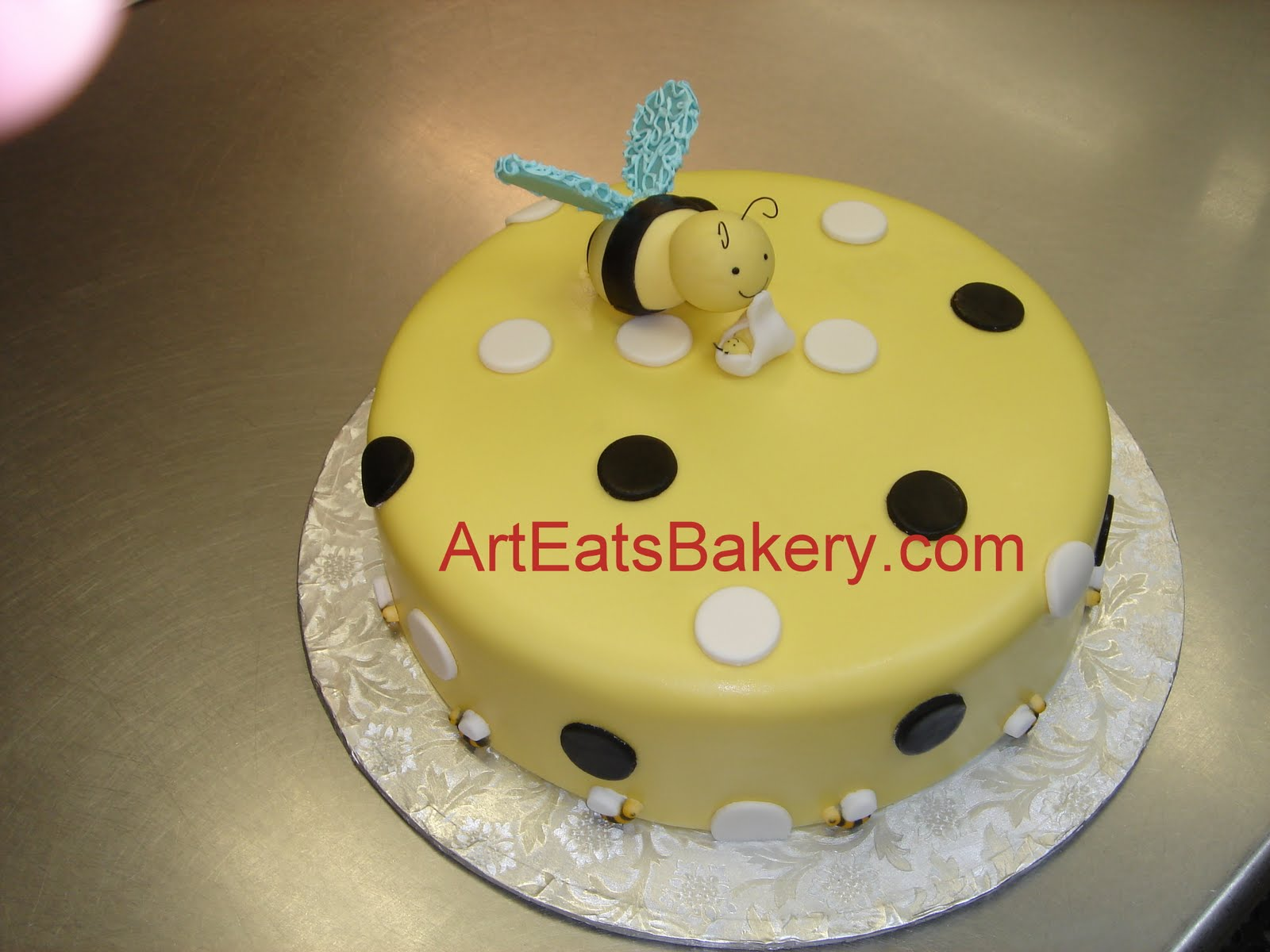 Custom designed yellow, black and white fondant baby shower cake ...