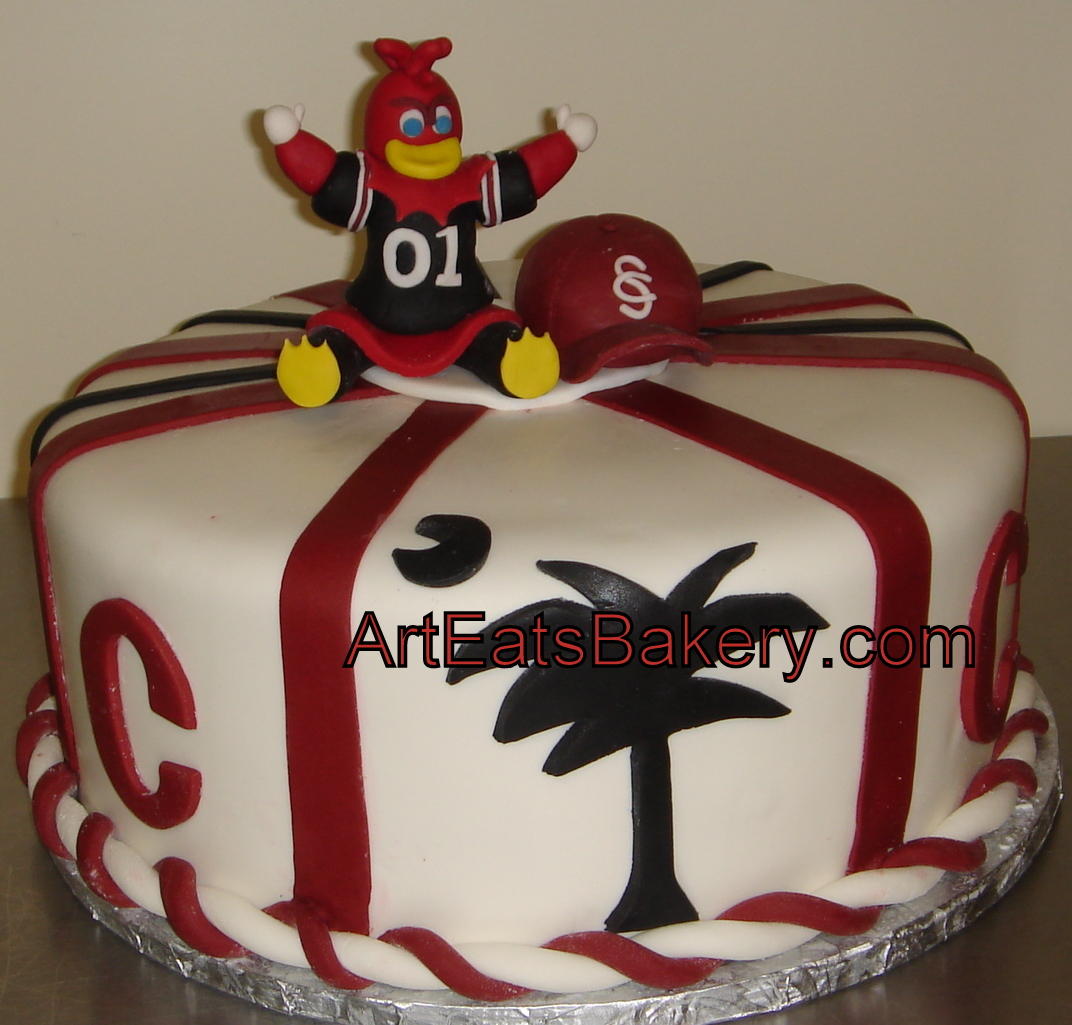 Usc Birthday Cake Images : >Custom fondant USC Gamecocks mascot, baseball hat and ...