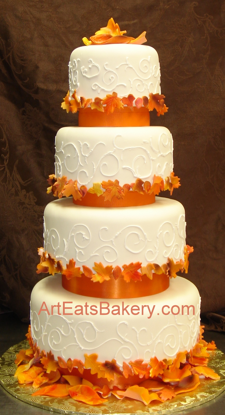 four tier custom designed fall leaves wedding cake with curlicue piping arteatsbakery. Black Bedroom Furniture Sets. Home Design Ideas