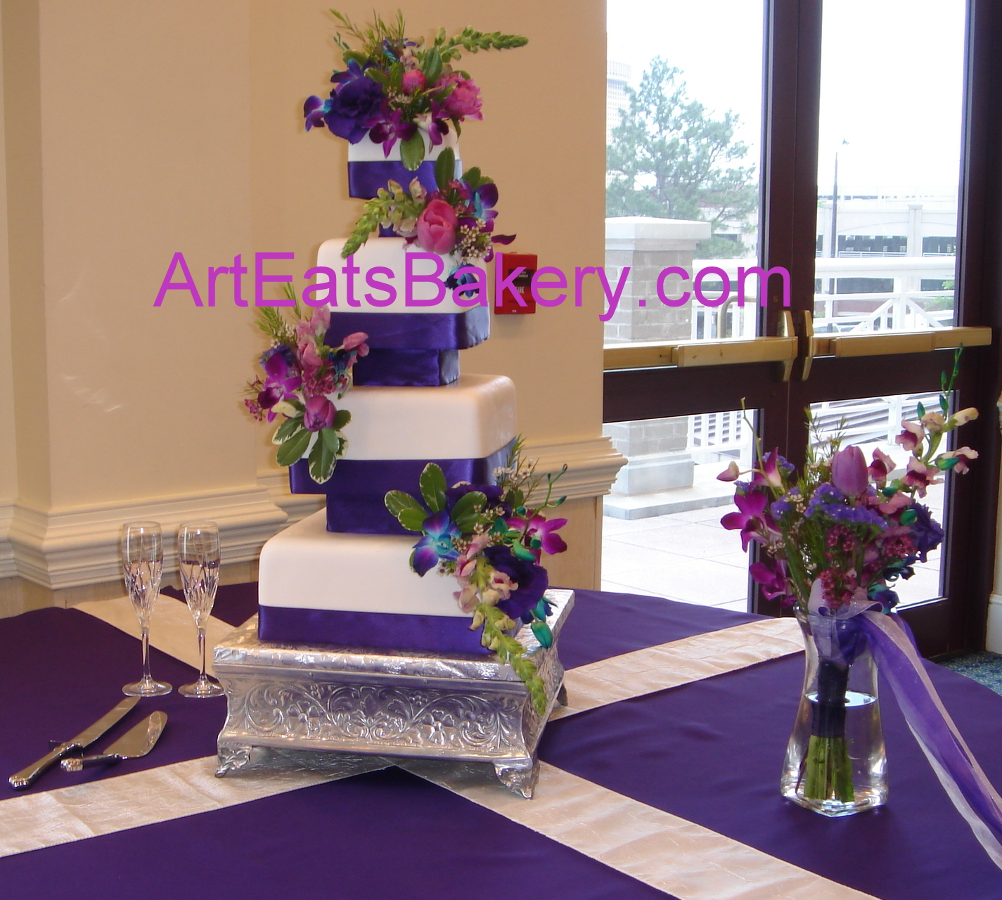 Purple Wedding Cake Ideas: >Unique Four Tier Custom Square Fondant Wedding Cake